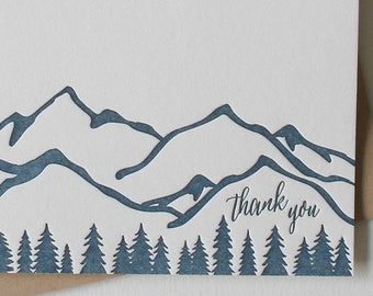 Letterpress Thank you cards with mountains and trees