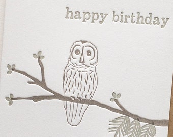 Letterpress Birthday cards with owl