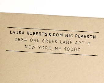Return address stamp for couples with different last names, self inking