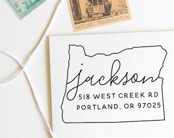 Oregon return address stamp, state, self inking stamp or rubber stamp wood handle