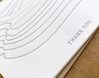 Letterpress waves Thank you Note Cards