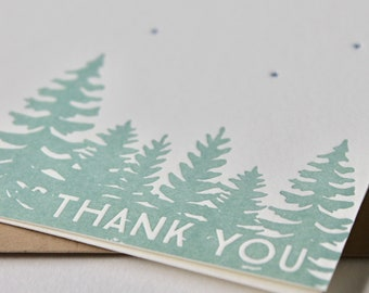 Letterpress Thank you cards with trees and stars