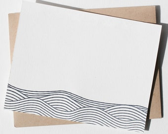 Letterpress note cards with waves