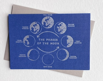 Letterpress cards with moon phases