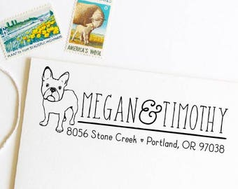 French bulldog return address stamp, frenchie stamper
