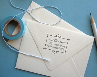 Self Inking Return Address Stamp, custom address stamp, self Inking black, rubber stamp wood handle