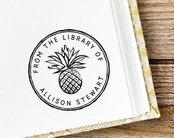 From the library of stamp with pineapple, book label, teacher stamp, teacher gift, self inking