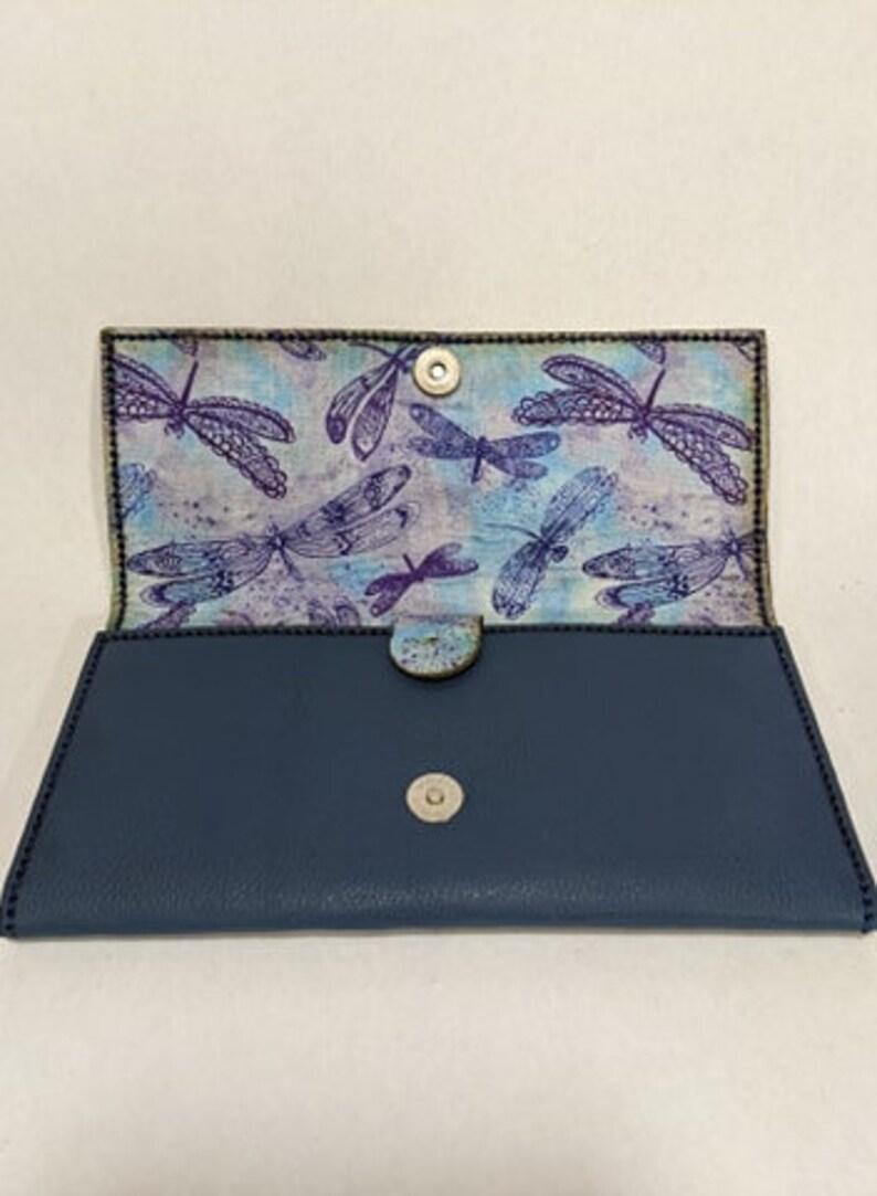 15 Pocket Wallet Women/'s Wallet Black Wallet Dragonfly Theme Inside Genuine Leather