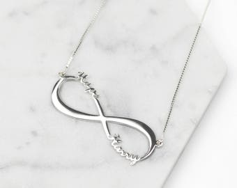 Sterling Silver Infinity Name Necklace • Silver Infinity Necklace • Personalised Necklace • Silver Name Necklace • Custom Name Jewelry