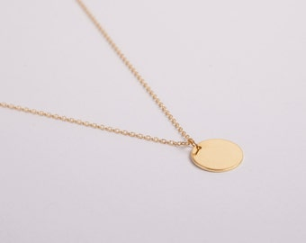 Golden Disc Necklace Gold Ring Circle Coin Golden Necklace Hoop Necklace