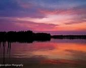 Dusk Dawn Nature Wall Art, Landscape Horizon Sunset Photography, Lake House Decor, Nautical Photography, Reflection Decor, Blue Purple