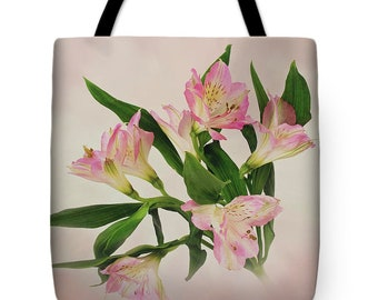 Baby Pink Lily Flower Tote Bag, Shoulder Tote, Art Tote Bag, Colorful Beach Bag, Farmers Market Tote, Unique Tote Bag, Carryall Tote