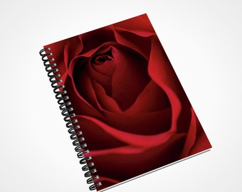 Red Rose Notebook, Spiral Floral Lined Diary, Pregnancy Journal, Personalized Prayer Journal, gift for her, A5 Writer Gifts, Gardner Gift