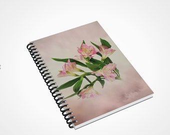 Alstroemeria Peruvian Lily Notebook, Lily of the Incas A5 Spiral Lined Journal, Personalized Gifts, Unique Gardening Journal, Writers Diary