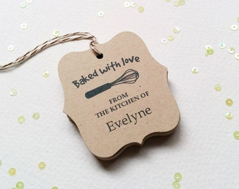 Baked With Love Brown Kraft Tags