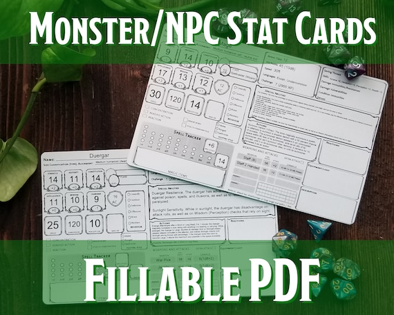 It's just a photo of Printable Monster Cards 5e intended for diy