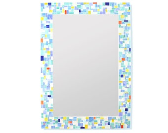 Modern Mosaic Bathroom Mirror in Stained Glass Tiles – 4 Rectangle Mirror Sizes Available