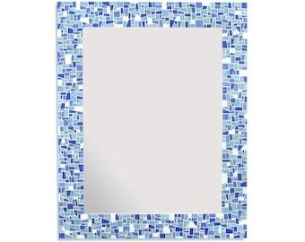 Beach Sea Glass Inspired Blues Mosaic Decorative Bathroom Wall Mirror, 5 Sizes Available