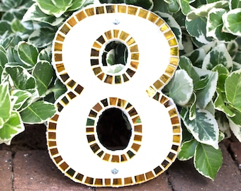 Modern Mosaic House Number Custom in Gold and White Stained Glass