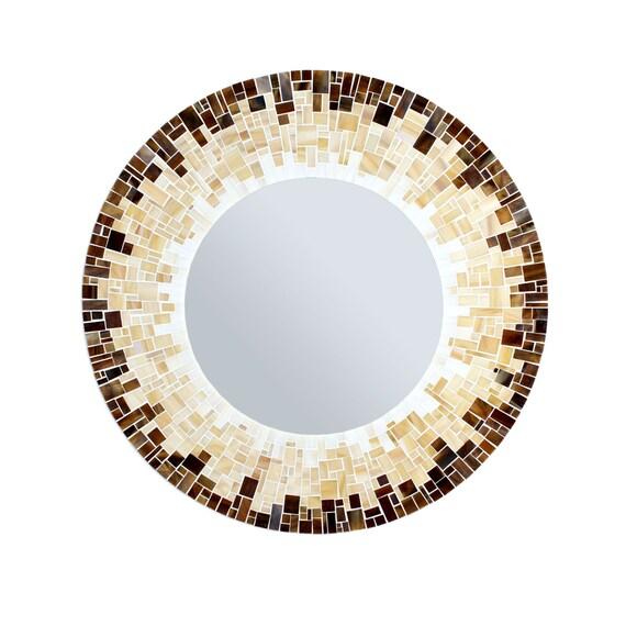 Round Bathroom Mirror Mosaic Tile Wall Mirror In Brown Etsy