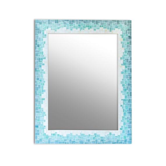 Bathroom Mirror Gradient Tile, Blue Mosaic Tile Bathroom Mirror