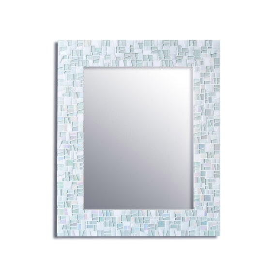 White Mirror Bathroom White Wall Mirror Mosaic Tile Mirror Etsy