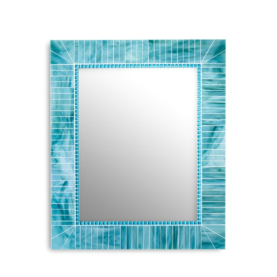 Turquoise Blue Mirror Mosaic Tile Mirrors Rectangle Wall Etsy