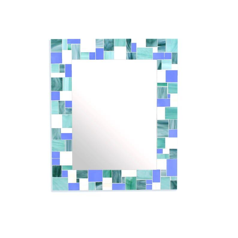 Mosaic Tile Wall Mirror For Blue Home, Blue Mosaic Tile Bathroom Mirror