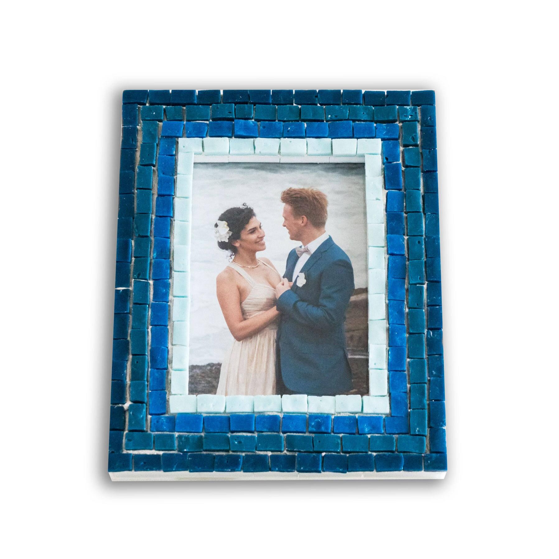 5 x 7 Bilderrahmen in blauem Glasfliesen blau