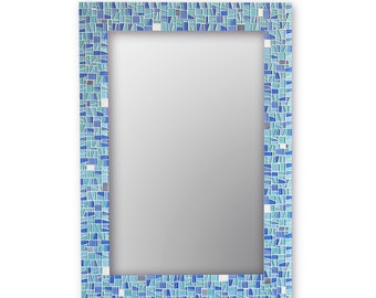 Mosaic Mirror - Bathroom Mirror - Sea Glass Blues with White and Grey - 5 Sizes Available