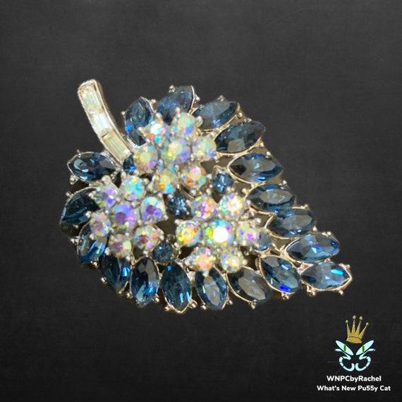 1950s Trifari Sapphire Blue Aurora Borealis Brooch