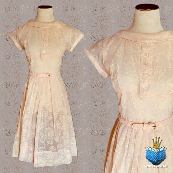 1950s Pink Flocked Organza Dress, Small-Medium