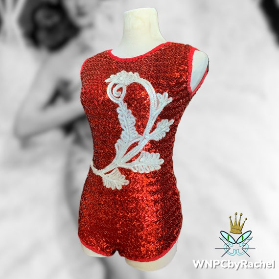 1960s Red White Sequin Stage Leotard by Advance Th