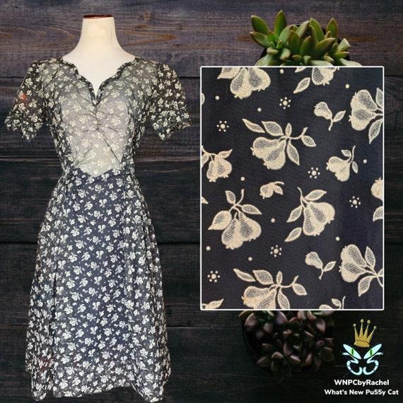1940s Pear Flocked Navy Organza Dress, Medium