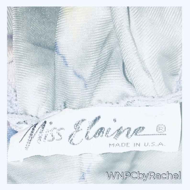 1960s Miss Elaine Babydoll Nightgown Powder Blue Floral Nylon Nightgown Medium-Large