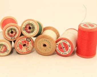 Set of 7 Wooden Thread Spools, Wood Thread Spools, Thread Spools, Wood Spools, Vintage Spools