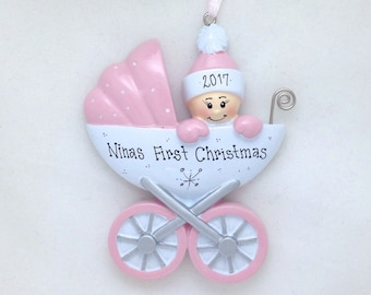 Personalized Baby Carriage Personalized Christmas Ornament / Baby Girl / Babys First Christmas / New Baby / Baby Shower Gift