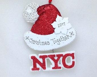 New York City Personalized Christmas Ornament / Sparkly Santa Hat Ornament / New York Christmas in New York Souvenir