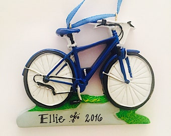 Blue Bicycle Christmas Ornament / Bike Ornament / Personalized Christmas Ornament / Cycling Ornament