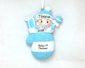 Baby Boy Blue Mitten Personalized Christmas Ornament / Baby's 1st Christmas / Baby's First Christmas Ornament / New Baby Ornament