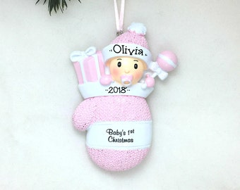 Baby Girl Pink Mitten Personalized Christmas Ornament / Baby's 1st Christmas / Baby's First Christmas Ornament / New Baby Ornament