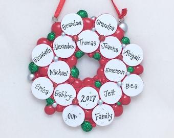 16 Family Ornament / Wreath with 16 Christmas Balls / Personalized Christmas Ornament / Large Family / Reunion / Grandchildren