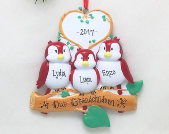 3 Red Birds Ornament / Personalized Christmas Ornament / Family of Three Red Birds / New Baby Ornament