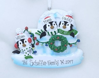 3 Family Penguin Ornament / Personalized Christmas Ornament / Family of Three Ornament / First Christmas