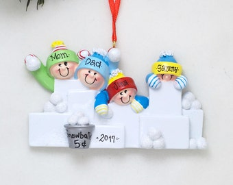 4 Family Snowball Fight Personalized Christmas Ornament / Family of Four / Snow Fort / Children Ornament