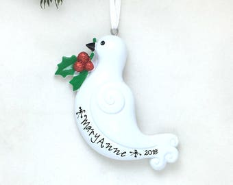 Dove Personalized Christmas Ornament - White Dove  - Peace - Custom Name or Message