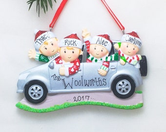 4 Family Members in Car Personalized Christmas Ornament / Road Trip Ornament / Family SUV / Hand Personalized with Names and Message