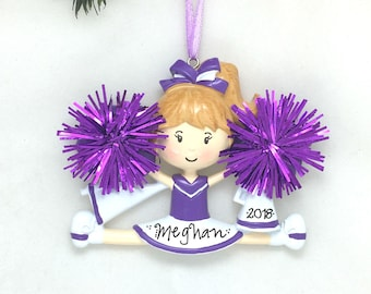 Cheerleader Christmas Ornament / Cheerleading Ornament Purple and White / Personalized Christmas Ornament / Cheer Team Ornament