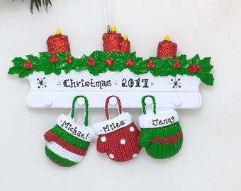 3 Red and Green Mittens Ornament / Personalized Christmas Ornament / Family of Three Mittens on Mantel / Christmas Ornament