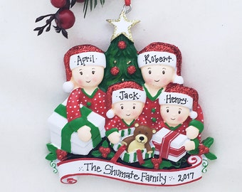 5d578d342cf 4 Family Opening Presents Family Ornament   Personalized Christmas Ornament    Hand Personalized